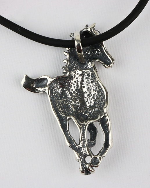 Sterling silver horse pendant necklace reverse side