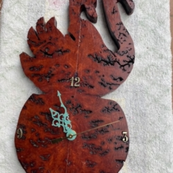 Red Gum Burl Swan Clock
