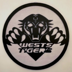 NRL METAL WALL ART – WEST TIGERS – 50 CM