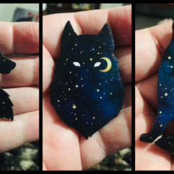 Celestial Wolf Brooches / Badges / Pins