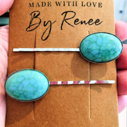 Pretty Faux Shell or Faux Turquoise Hair Pins – sold in pairs