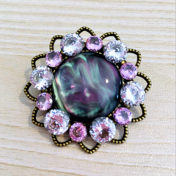 Cubic Zirconia and Faux Shell Brooch
