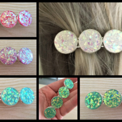 Large Faux Opal Hair Barrettes / Clips – Suits all hair types