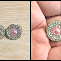 Cute Pink Pearl and Rhinestone Brooch / Pin / Embellishment