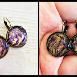 Striking Purple and Gold Leverback Earrings