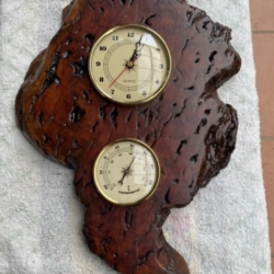 Red Gum Burl Clock and Barometer