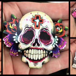 Halloween And Day of the Dead Skull Brooches / Shawl Pins / Badges – 5 designs