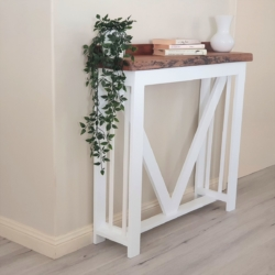 White and Timber Top Hall Table – Local Pick up / Delivery to NSW addresses only.