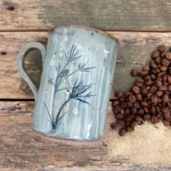 Green Pottery Mugs Handmade with Handmade Mulberry Paper Packaging