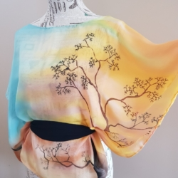Handpainted silk poncho – The boabs