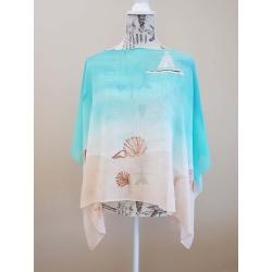 Handpainted silk poncho – Serene beach
