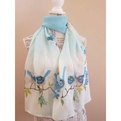Handpainted silk scarf – Blue fairy wrens