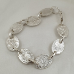 Sterling Silver Bracelet with Reticulated Oval Links
