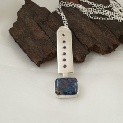 Boulder Opal and Amethyst Sterling Silver Pendant