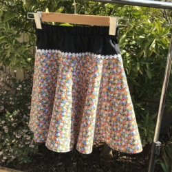 Girl's cotton full circle skirts with drawstring elastic waistband