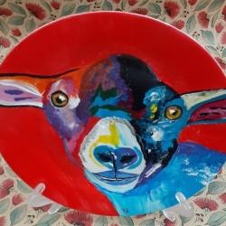 Hand Painted Porcelain Plate – Baa Ram Ewe