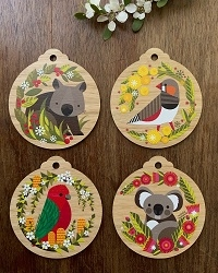 ZEBRA FINCH WOODEN DECORATION & CARD