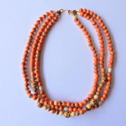 Multi strand Necklace in Burnt Orange & Gold