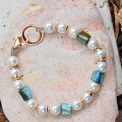 White & Blue Shell Pearl Bracelet