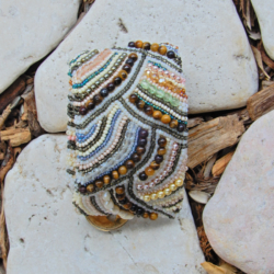 Bead Embroidered Bracelet Cuff with Tiger Eye