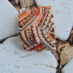 "Bead Embroidered Bracelet Cuff ""Autumn"""