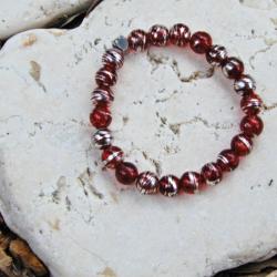 Red & Silver Stack Bracelet