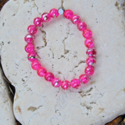 Fuchsia Pink & Silver Stack Bracelet