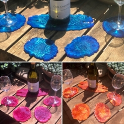 Agate Inspired Resin Coasters: Set of 4 with Wine Caddy