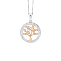Ellani Sterling Silver with Rose Gold Plated Tree Of Life Pendant on Sterling Silver Chain P820R
