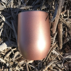 Rose Gold 350ml Double Wall Vacuum Stemless Wine Tumbler Cup Prefect for Coffee or Wine with BPA Free Lid