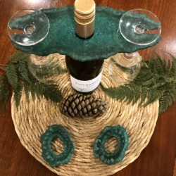 Tropical Green: Agate Coasters Set of 2 with Wine Caddy