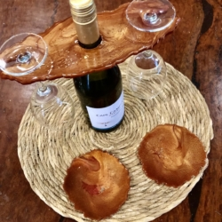 Bronze, Gold & Red: Agate Coasters Set of 2 with Wine Caddy
