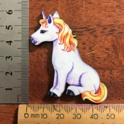 Charming Unicorn with Golden Mane and Tail Brooch / Shawl Pin / Badge