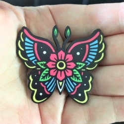 Bright Butterfly Brooches / Shawl Pins / Badges