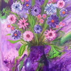 Purple vase original painting by Marg Pearson