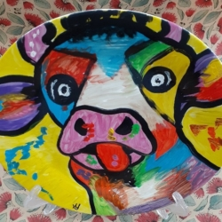 Hand Painted Porcelain Plate – Mad Cow