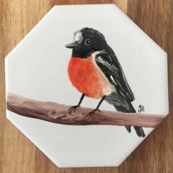 Scarlet Robin Ceramic Tile Coaster