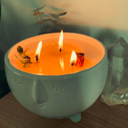 Smudge candle in planter pot