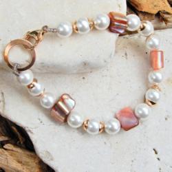 White & Bronze Shell Pearl Bracelet