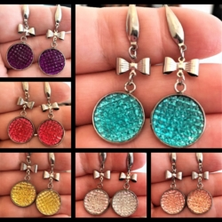 Bright Colours with Bows Dangle Earrings – 6 colours – stainless steel