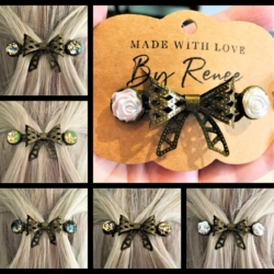 Pretty Filigree Bow Barrettes – 5 styles – Bronze