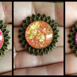 Bright Sunflower with Faux Opal / Shell Brooches – 5 Colours