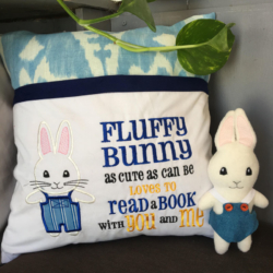 Reading Pillow and Pocket Pal Fluffy Bunny Boy