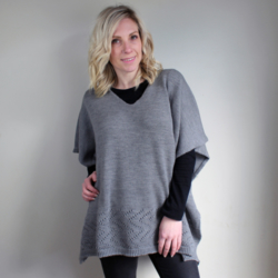 Callie Pure Merino Wool Poncho | Wallaby Grey