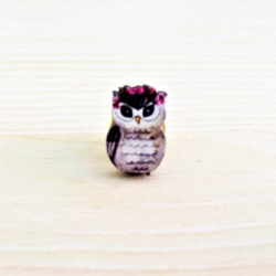 Pretty Owl with Floral Crown Clutch-back Pins / Embellishments