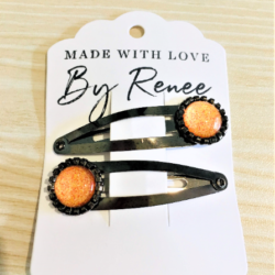 Pretty Dark Silver and Orange Hairclips / Hair Grips – sold in pairs