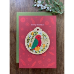 KING PARROT WOODEN DECORATION & CARD