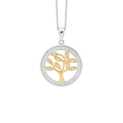 Ellani Sterling Silver with Yellow Gold Plated Tree Of Life Pendant on Sterling Silver Chain P820G