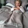 Australian made knitted merino wool Farm animals blanket in Beige