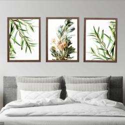 Wall Art Green Leaf Set of 3 Prints, Photography